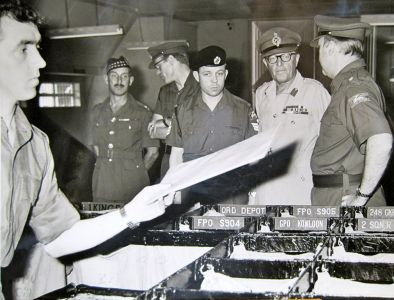 BFPO 1 - Osborn CDO, With Cpl Bobby Best Sorting The Mail, In Front Of Graham Stewart And Graham Hillier, Ivor Siddall Standing Behind.